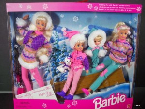 1995 Winter Holiday BARBIE Gift Set - Sledding Fun w Barbie, Koko, Stacie, Kelly & Skipper Dolls & Dog (1995)