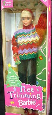 1998 1 X Christmas Tree Trimming Barbie Doll - Holiday Special Edition (1998)
