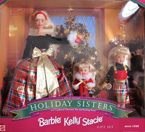 1998 BARBIE HOLIDAY SISTERS Gift Set SPECIAL EDITION w BARBIE KELLY STACIE DOLLS, Cardboard XMAS TREE & Rocking HORSE (1998)