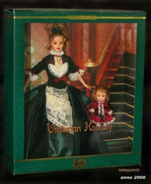 2000 Barbie and Kelly Victorian Holiday Barbie Set