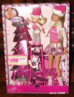 2008 Barbie and Kelly Pink Holiday Barbie Dolls Set