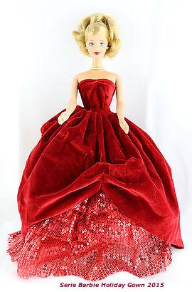 2015 Limited Ed. Holiday Gown Red and Red Velvet Skirt Made to Fit Barbie Doll