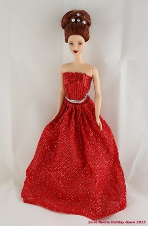 2015 Limited Edition Holiday Gown in Red Sparkles and Sequined Bodice Made to Fit Barbie Doll